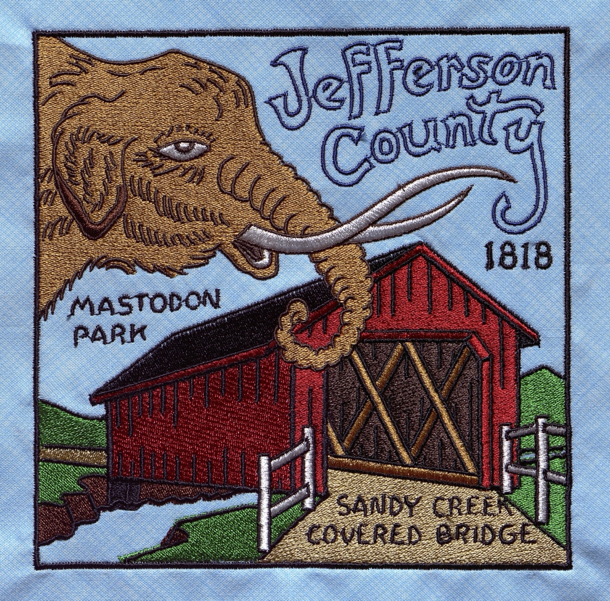 Jefferson County Heritage - Designed by Allen Flamm, made and embroidered by Patti Allen and associate.