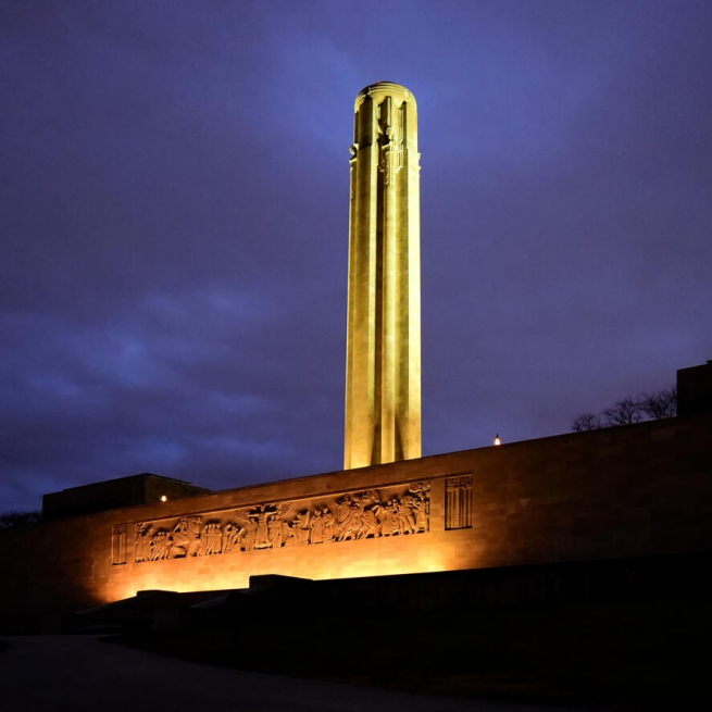 World War I Memorial Tower and North Wall. Photograph by Keith Wilhite. **Selected for the My Missouri 2021 exhibition**