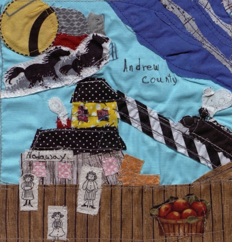 Train Station at Nodaway Town - Quilted by Anita LeAnn Kerns.