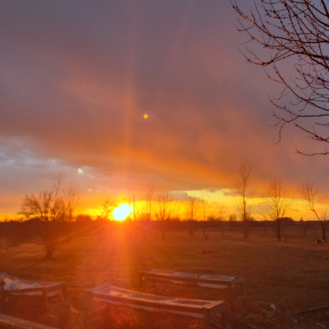 Sunset in Clarence, Missouri. Photograph by Robert Bogeart.