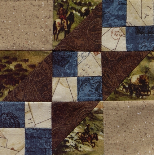 Rocky Road to California - Quilted by Murla Leahy. **Selected for the Missouri Bicentennial Quilt**
