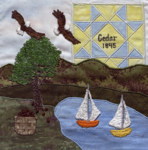 Cedar County Pleasures - Created by a committee of three members of Calico Clippers Quilt Guild: Kay Patrick, Georgia Highley, and Mary Long. **Selected for the Missouri Bicentennial Quilt**
