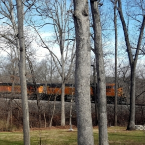 Backyard Train Crossing. Photograph by Dee Dosch.