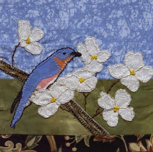 Bluebird in a Dogwood - Created by Dianna Price.