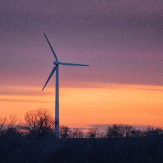 Windmills in Rock Port Sunset. Photograph by Max Jac.