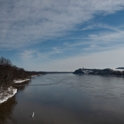 Snowy Hermann On The Missouri River. Photograph by Mike Langille.