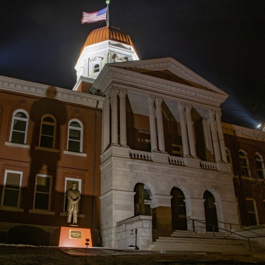 Shadow on Gasconade County Courthouse. Photograph by Mike Langille.
