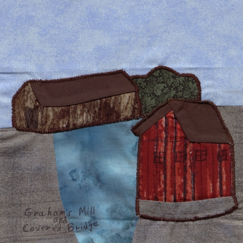 Graham's Mill and Covered Bridge - Created by Margaret Elaine Burton.