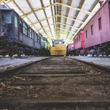 Train Yard at the Museum of Transportation. Photograph by Sara Mauer.