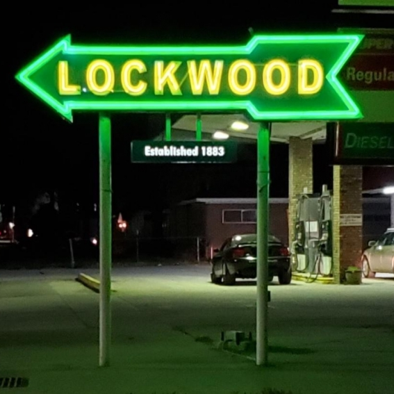 Lockwood Neon Arrow Sign. Photograph by Kristy Miller.