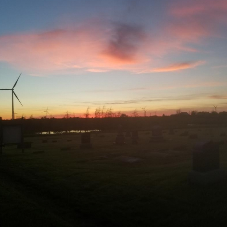 Sunset and Wind Turbines. Photograph by Clair Murphy.