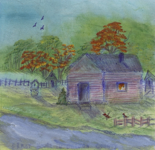 Old Granny Blue Cabin - Created by Anita Caldwell.
