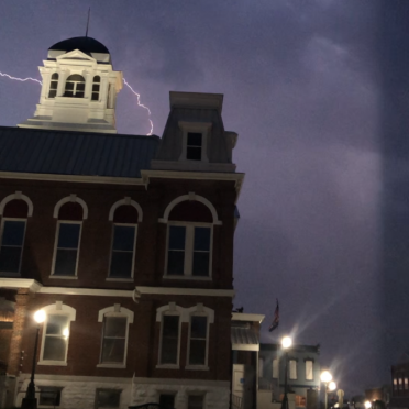 Lightning Over the Courthouse. Photograph by Micayla Schnirch.