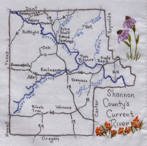 Shannon County's Current River - Created by Brenda J. Morton. **Selected for the Missouri Bicentennial Quilt**