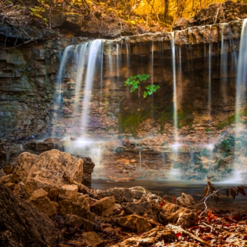 Waterfall at Ruth and Paul Henning Conservation Area. Photograph by Allin Sorenson. **Selected for the My Missouri 2021 exhibition**