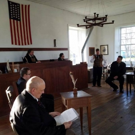 Reenactment of the Old Drum Trial. Photograph by Scott Umphrey.